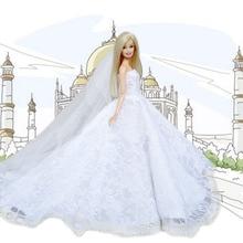 Muñecas de Hada de juguete, vestidos elegantes de fiesta de princesa de boda blanca, ropa con velo de la cabeza, accesorios de muñeca para juguetes de Barbie
