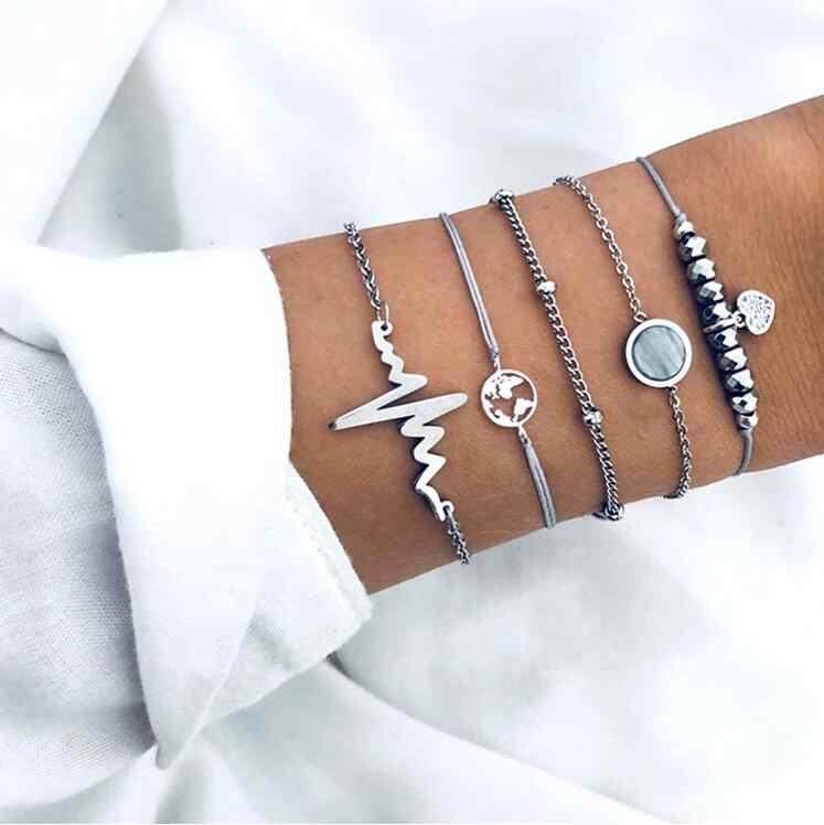 Gemengde Stijlen Vrouwen Armbanden & Bangles Sets Vrouwelijke Pols Sieraden Lightning Initialen Circel Zeester Kompas Olifant Eenvoudige Gift