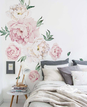 Peony Flowers Wall Sticker Vintage Watercolor Stickers Peel and Stick Removable room decor decoration