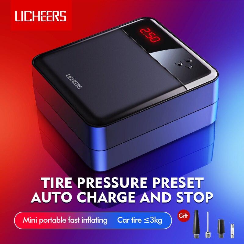 Licheers Car Air Compressor Intelligent Auto Tire Fast Inflatable Pump Mini Portable Electric Car Tyre Inflator Compresor