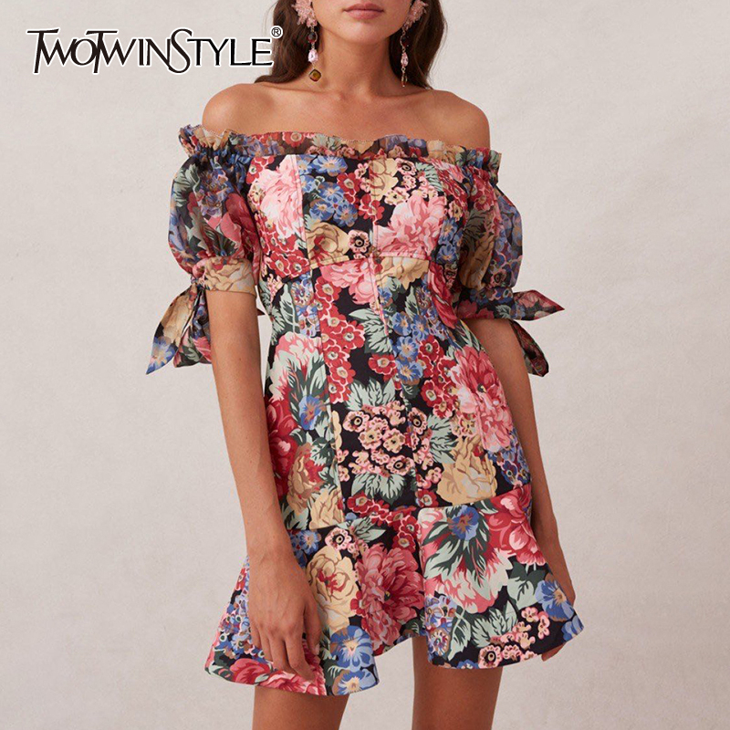 TWOTWINSTYLE Vintage Print Dress For Women Slash Neck Puff Short Sleeve High Waist Mini Dresses Female 2020 Summer Fashion New