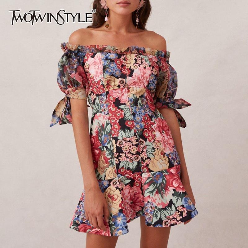 TWOTWINSTYLE Vintage Print Dress For Women Slash Neck Puff Short Sleeve High Waist Mini Dresses Female 2020 Summer Fashion New