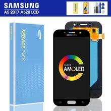 Оригинальный ЖК-дисплей Super AMOLED 5,2 дюйма для SAMSUNG Galaxy A5 2017 A520 A520F, зеркальный ЖК-дисплей, сенсорный экран, дигитайзер в сборе, протестирован