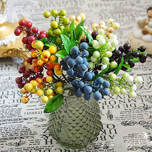 Artificial Red Cherry Flowers Berries Wedding Decoration Plants Christmas Flower New Year Wreath Garland Berry Decor