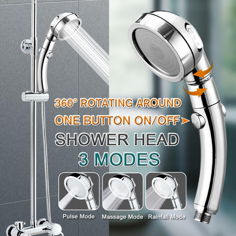 3 Modes High Pressure Water Saving Rainfall Shower Head Supercharging One Button Switch Universal Rotation Bathroom Accessories
