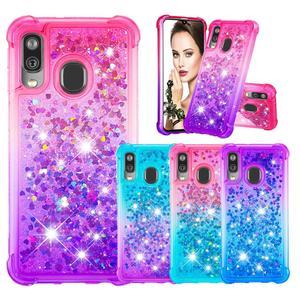 Image 1 - Fashion Phone Cases for Samsung Galaxy Note 10 Pro/Plus Note 10 Case for A40 A20e A10e Glitter Hearts Liquid Soft TPU Back Cover
