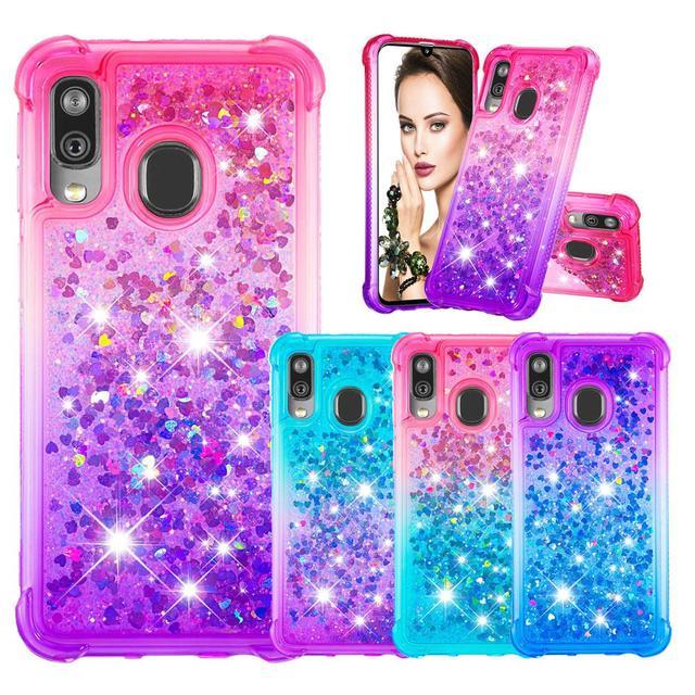 Fashion Phone Cases for Samsung Galaxy Note 10 Pro/Plus Note 10 Case for A40 A20e A10e Glitter Hearts Liquid Soft TPU Back Cover