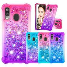 Mode Telefon Fällen für Samsung Galaxy Note 10 Pro/Plus Hinweis 10 Fall für A40 A20e A10e Glitter Herzen flüssigkeit Weiche TPU Rückseitige Abdeckung