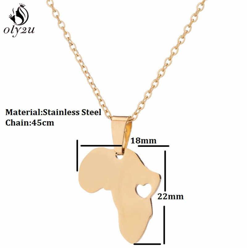 Oly2u מתאר אפריקה מפת שרשרת נירוסטה תכשיטי נשים גברים פשוט אימוץ אתיופיה אפריקה יבשת שרשרת