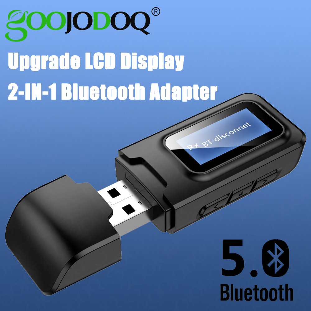 USB Bluetooth Dongle Adapter 5.0 Receiver Transmitter LCD Display Audio 3.5mm AUX Jack Stereo Adapter For Car PC TV Headphones