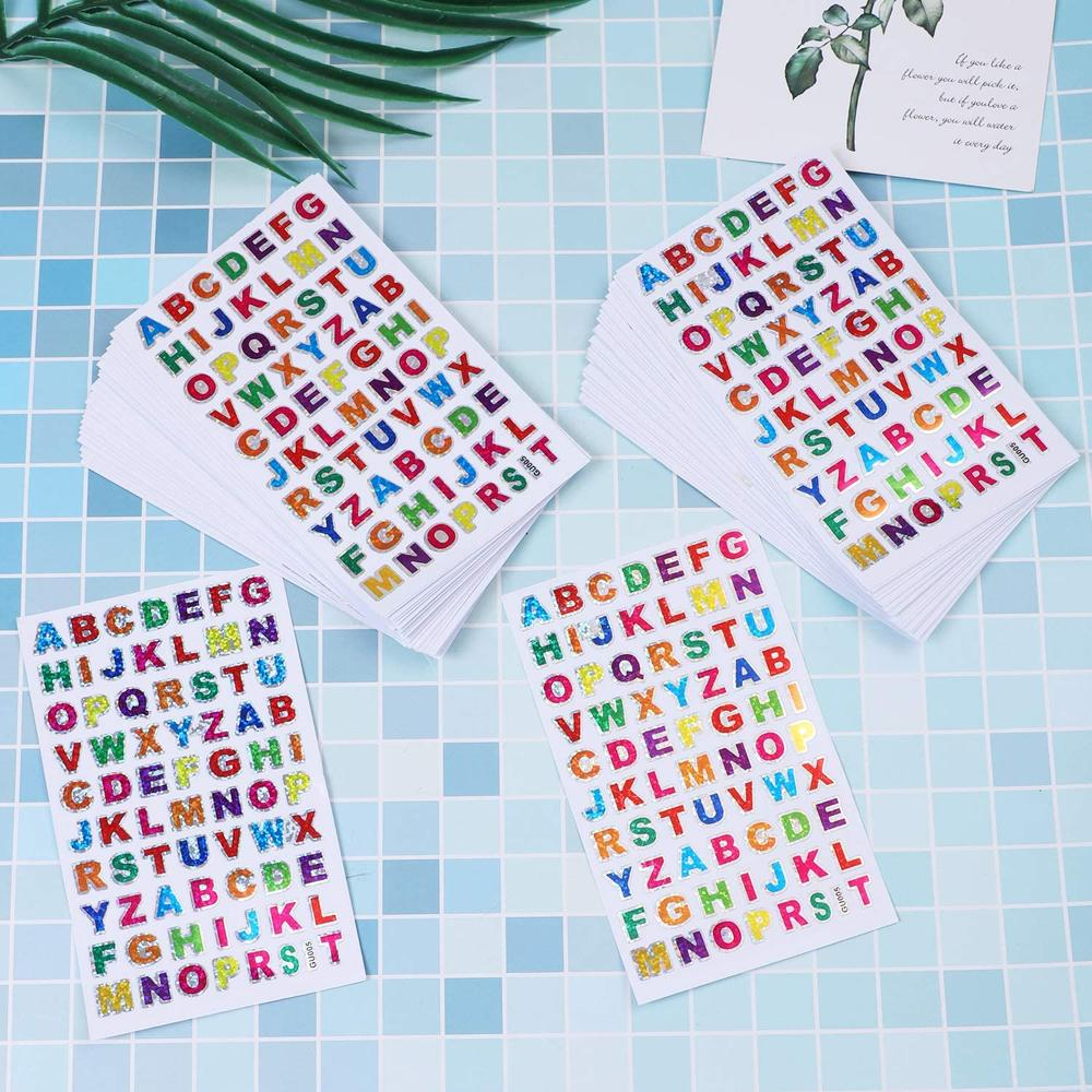 10 Sheets Glitter Letter Sticker Self-Adhesive Alphabet Paper for Scrapbooking or Embellishment