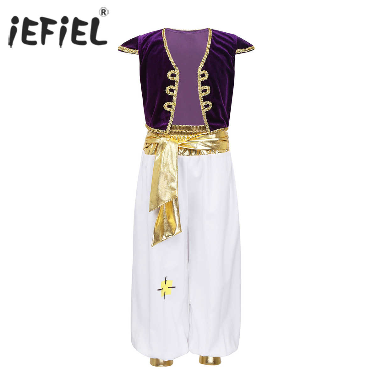 Kids Boys Arabian Prince Lamp Costumes Outfit Cap Sleeves Vest Waistcoat with Pants Set for Halloween Dress Up Cosplay Party