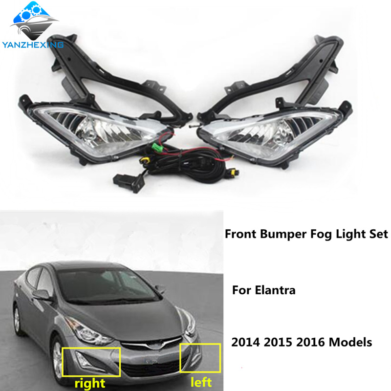 Brand New Superior Quality Front Bumper Fog Lights H8 Bulb 12V 35W Fog Lamps Cover+Wiring+Switch Kit For Hyundai Elantra 2014-16