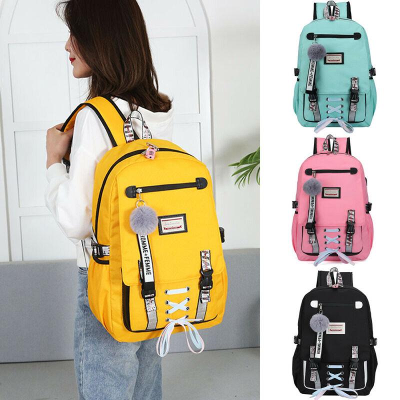 2020 Newest Women USB Port School Backpack Girls College Large Waterproof Travel Rucksack USB Charging Anti-Theft Backpack