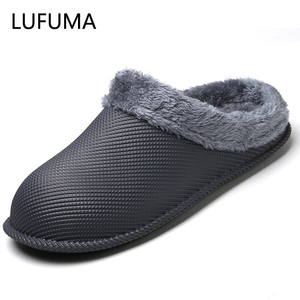 Men Winter Slippers with Fur Women PU Leather Waterproof Warm Home Slipper Male Indoor Cotton Flip flops Casual Shoes Big Size47