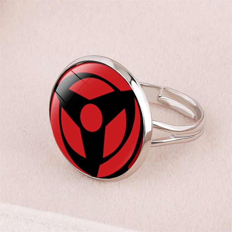 Sharingan Eye แหวนอะนิเมะ Naruto ถักแหวน Naruto Sasuke Uchiha Clan แหวน Negan Taichi Kakashi COSPLAY เครื่องประดับ