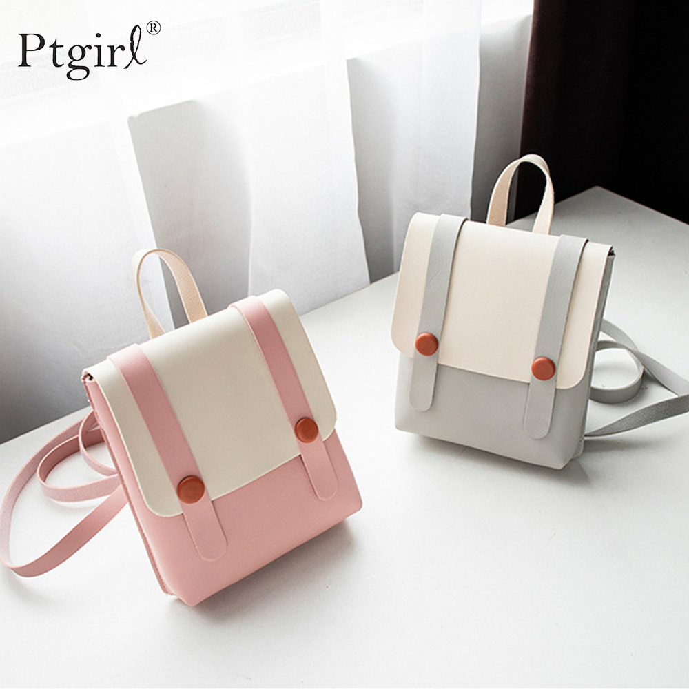 Women's Small Tote Backpack Satchel PU Leather Mini Travel College School Shoulder Bags Ptgirl Mini Backpack рюкзак для девочки