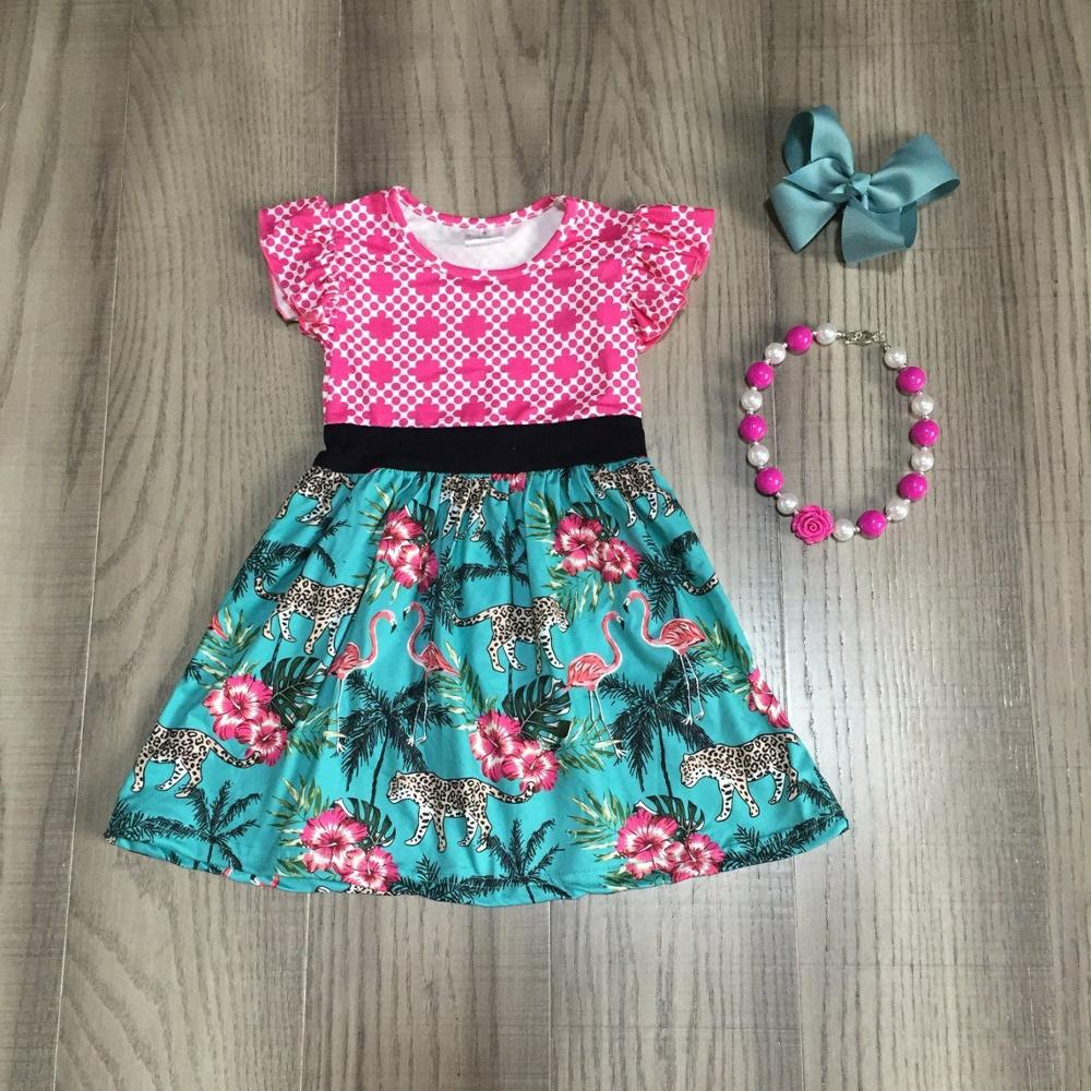 Baby Girls Summer Cotton Floral Dress Children Flamingo Leopard Dress Baby Kids Classic Garden Dress With Accessories