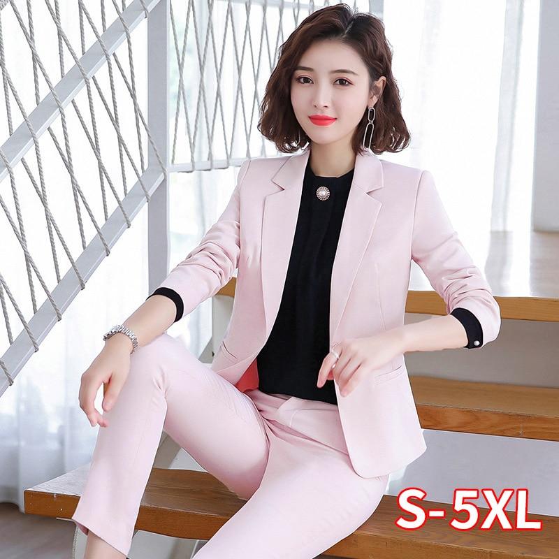Women Suit Business Lady Uniform Office Work Pant Suits Female 2 Piece Set Blazer Pants Jacket Autumn Winter Large Size 4XL