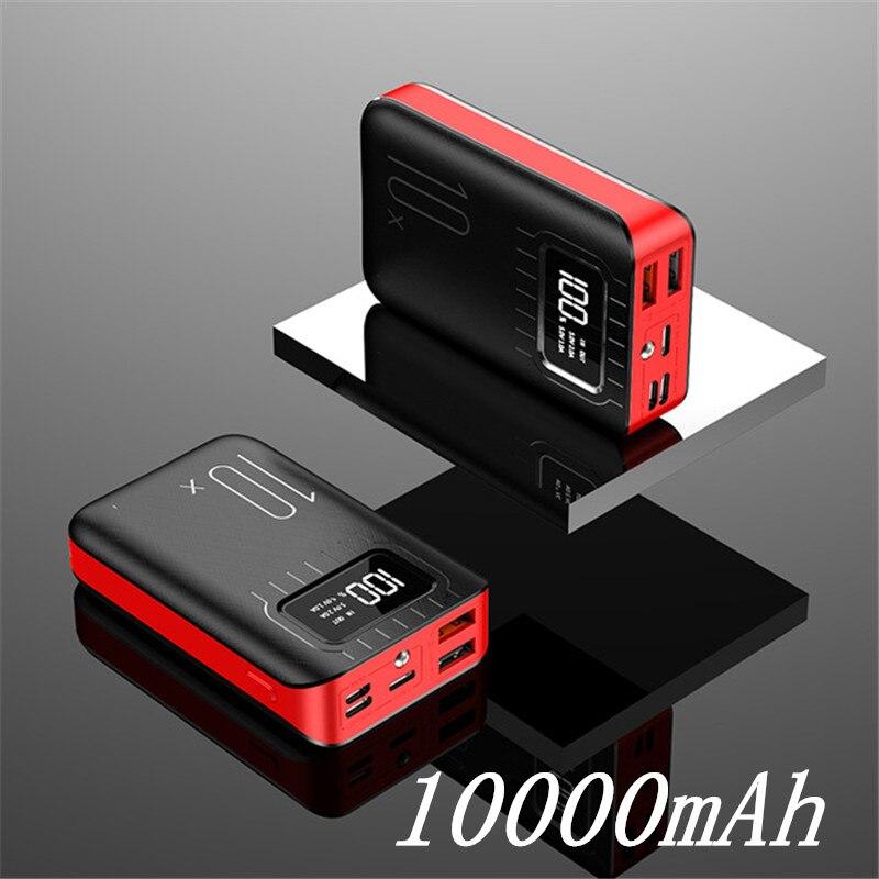 Внешний аккумулятор 30000 мАч Внешний аккумулятор портативное быстрое зарядное устройство для всех смартфонов с зарядным устройством банк полный экран водонепроницаемый - Цвет: Black Red 10000mAh