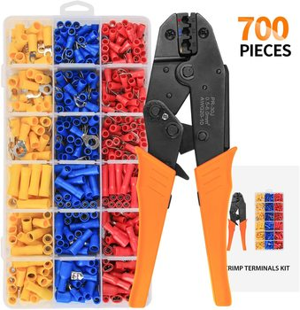 цена на 0.5-6.0mm2 Crimper crimping tools pliers for 22-10 AWG 700pcs Insulated Car Auto Terminals & Connectors Crimping Pliers