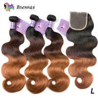 Mechones de cabello humano postizo brasileño onda cuerpo con cierre 1B/4/27 ombre mechones con 4x4 Cierre de encaje cabello no Remy bajo Ratio