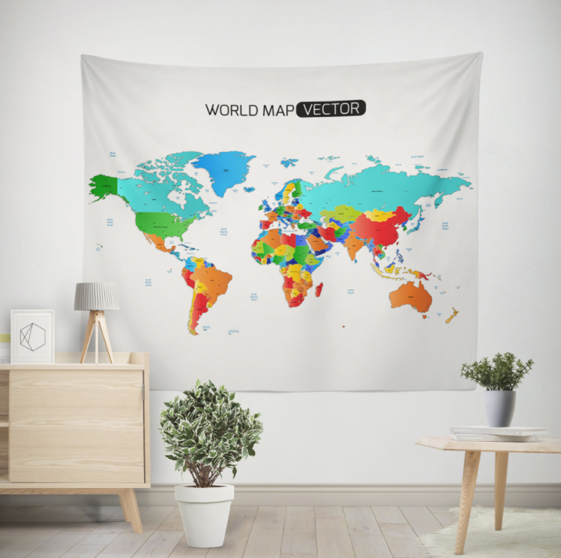 World Map Color Printing Home Fabric Decorative Tapestry Hanging Drawing 150x200cm Maps  Atlases