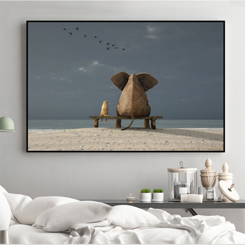 MUTU Modern Nordic Sweet Elephant And Dog Sunset, Early Morning, Canvas Print Painting Poster Wall Picture For Living Room Home image
