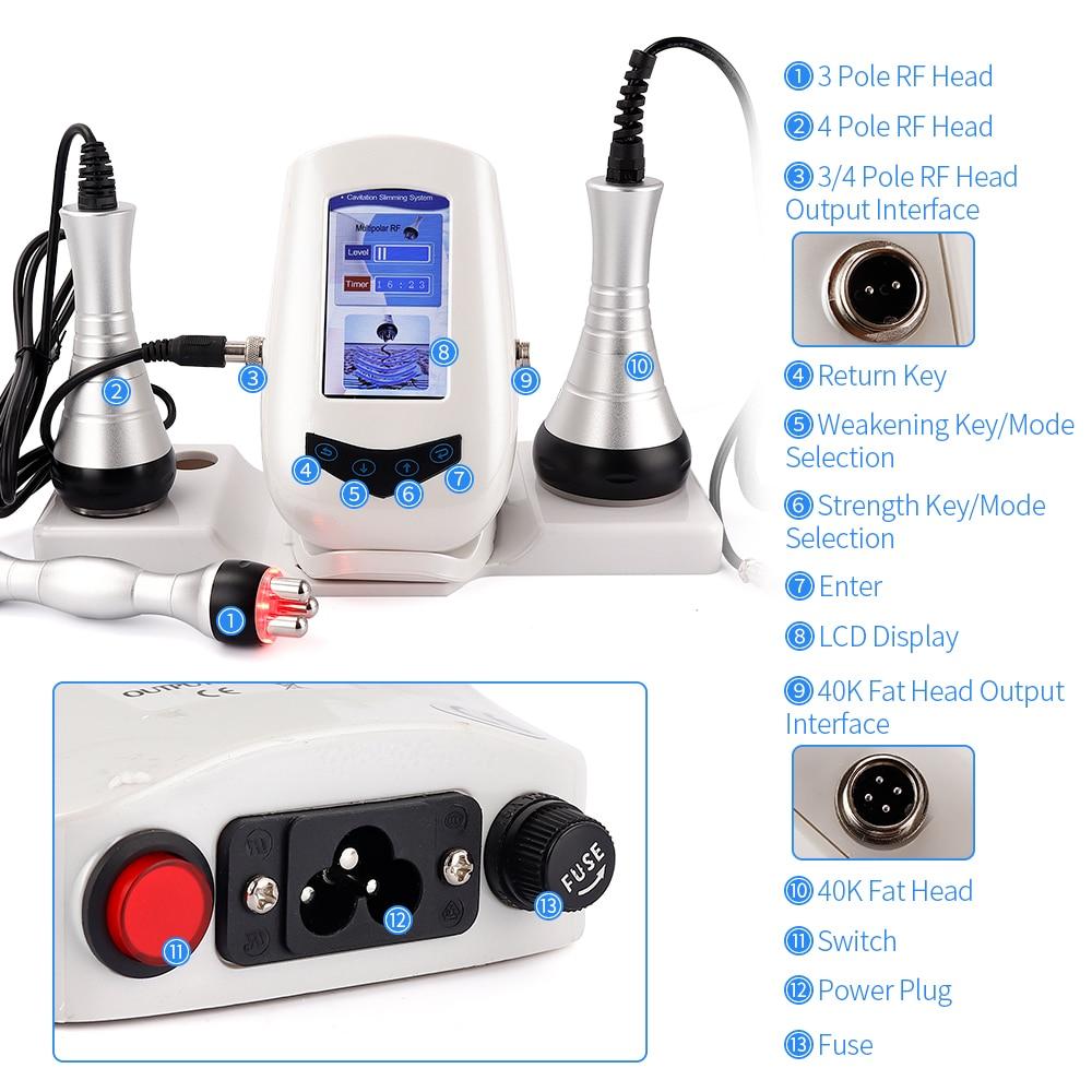 Image 5 - Multipolar RF Ultrasonic Body Slimming Machine 40K Cavitation Weight Loss Beauty Device Fat Burner Skin Tighten Anti wrinkleFace Skin Care Machine   -