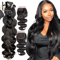 Body Wave Bundles With Closure Hair Weave Bundles With 4x4 Lace Closure 7A Remy Human Hair Extension with Lace Closure