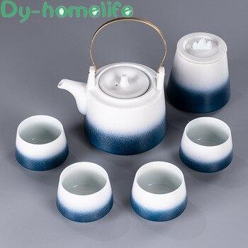Japanese-style Creative Gradient Ceramic Coffee Tea Set Household Lift Beam Pottery Kung Fu Tea Set Gift Box Chinese Style