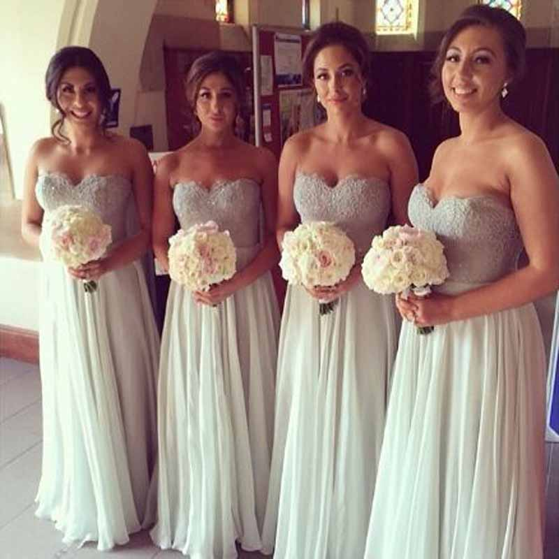 Lace Beading Sleeveless A-line   Bridesmaid     Dresses   Simple Sweetheart Neck Floor Length Wedding Party Gown