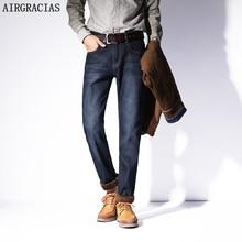 AIRGRACIAS Новые мужские теплые джинсы высокого качества от известного бренда осень-зима джинсы из плотного флиса Мужские джинсы длинные брюки 28-42