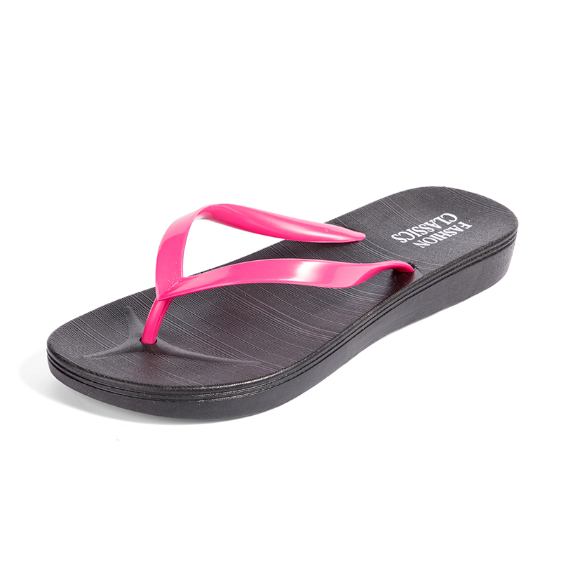 Womens Summer Slip-on Shoes Anti-slip Hard-wearing Fashion Leisure PVC Rubber Slippers Beach Swimming Indoor T-tied Flip Flops 3