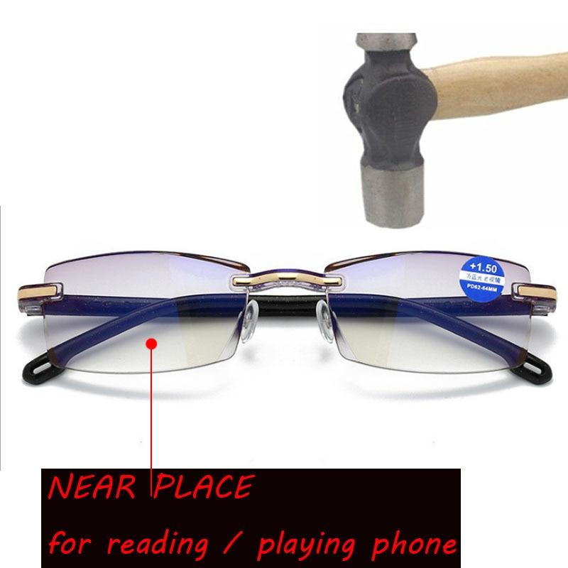 Men Rimless Reading Glasses Bifocal Far Near Anti Blue Light Magnification Women Presbyopic Glasses Multi-focus reading glasses