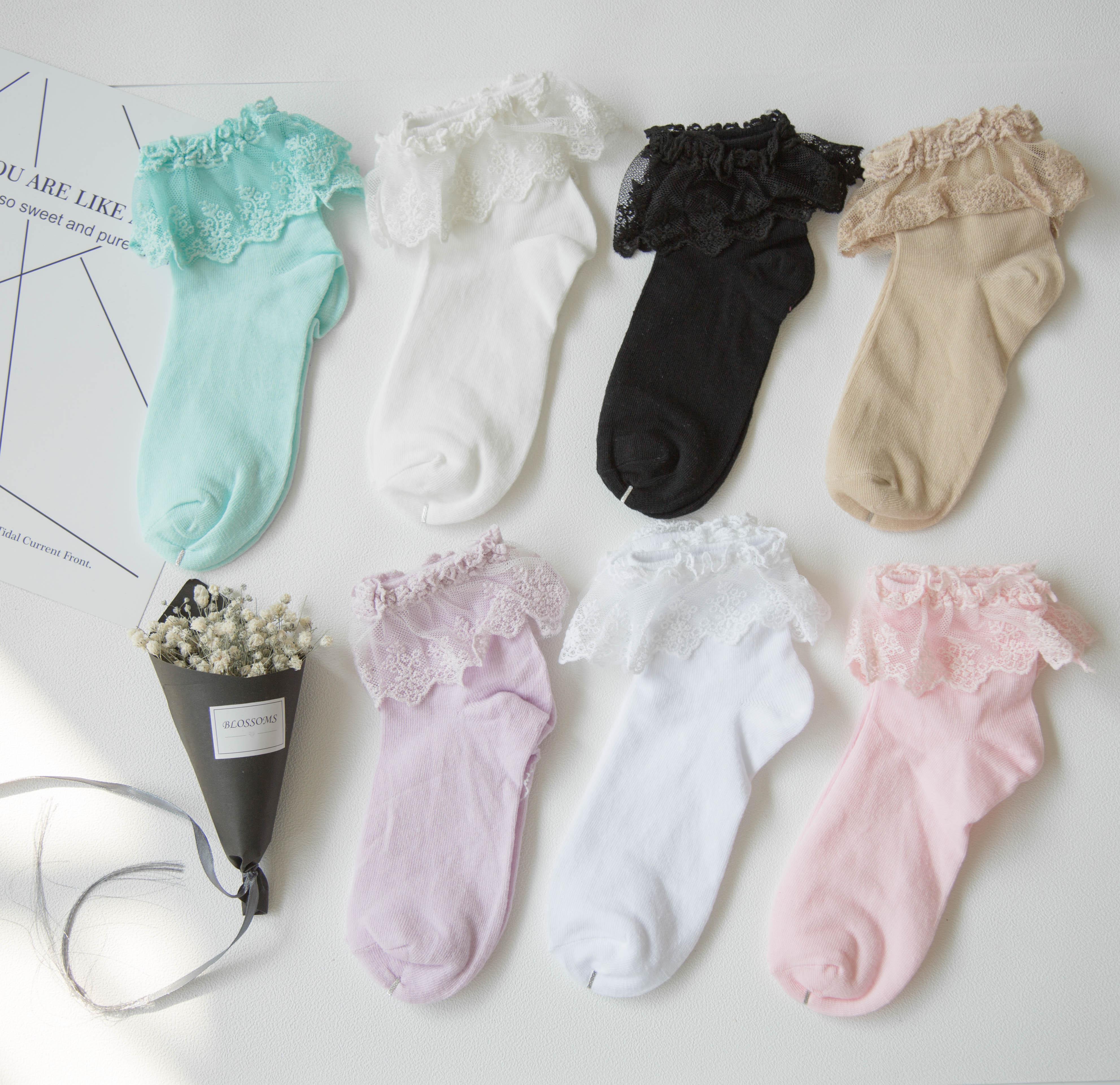 Женские хлопковые винтажные кружевные носки с рюшами и рюшами, женские принцессы, любимые доступные милые белые носки до щиколотки