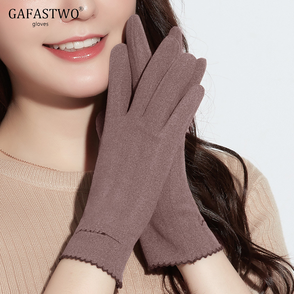 Thin Section Self-Heating Ladies Warm Gloves Women Fashion Casual Touch Screen Gloves Autumn Winter Windproof Embroidery Korean