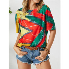 New 2021Summer Ladies Pullover Loose Top Multicolor Printing Urban Casual Style Round Neck Fashion Short-Sleeved T-Shirt