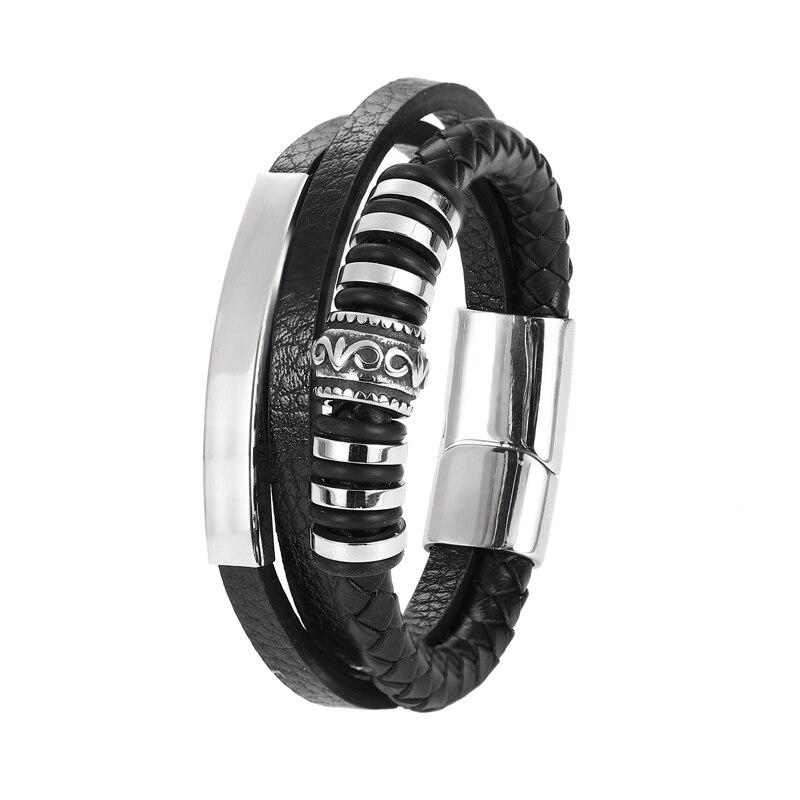 Bracelet en cuir Chakra en acier inoxydable, Bracelet personnalisé avec breloques pour hommes, accessoires noirs et bruns, offre spéciale 2