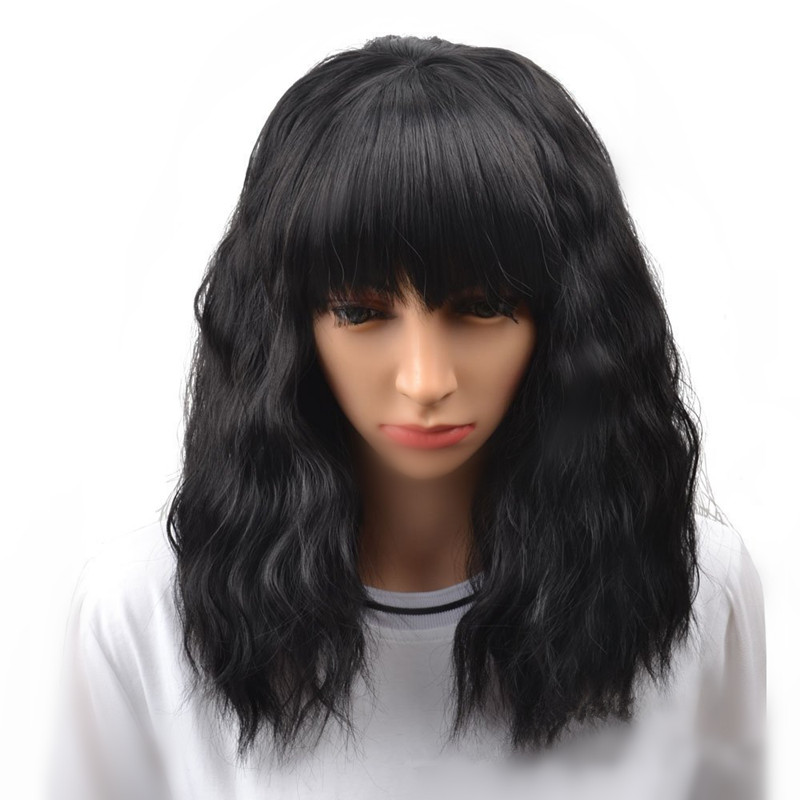 14 Inch Short Natural Wave Wigs Black & Brown Short Wavy Synthetic Hair With Bangs Bob Curly Shoulder Length Wig A Soft Wig