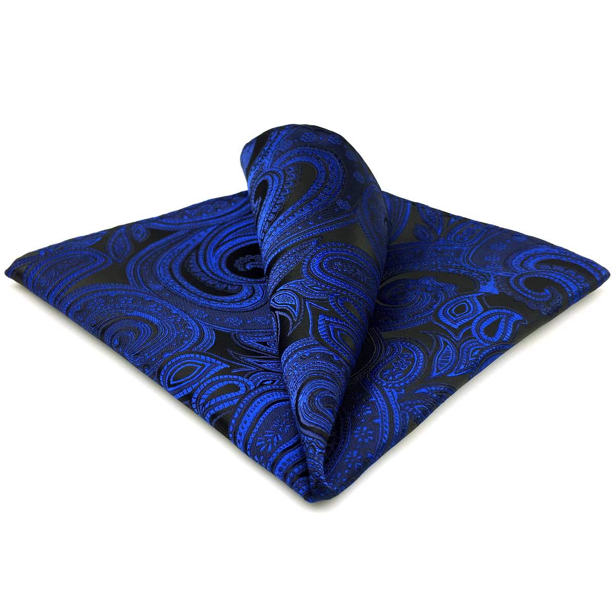 BH7 Navy Blue Paisley Pocket Square For Men Fashion Classic Handkerchief Wedding Hanky