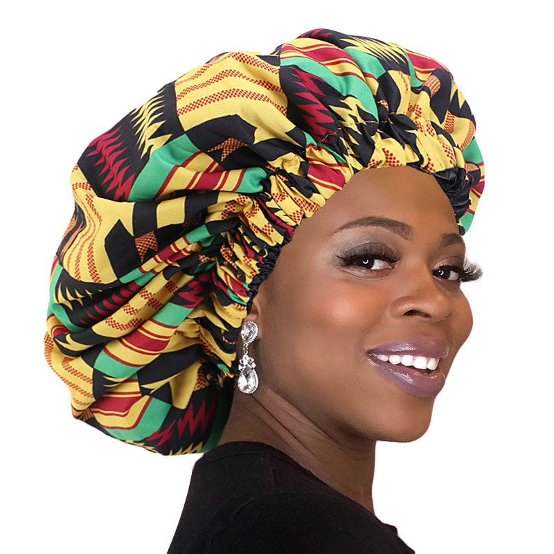 African Pattern Ankara Print Bonnet Women Night Sleep Cap Satin Lining Soft Extra Large Head Wear Ladies Headwrap Hair Care Hat