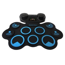Electronic Hand Roll Drum Pad Set Roll-Up Portable Multifunctional Jazz Drum Percussion Built-in Speaker Recording