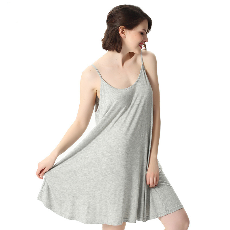 Women's Summer Nightgowns Bamboo Cotton Stretchy Loose Breathable Comfortable Night Shirts Strap Dress Plus Size Sexy Sleep Wear