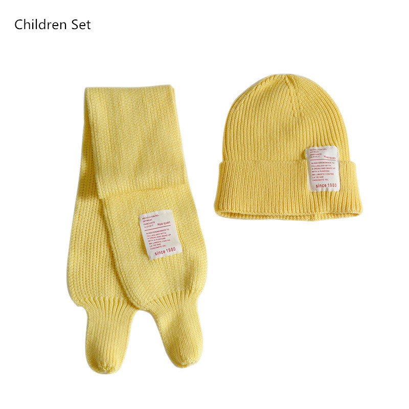 Cute Baby Girls Boy Hat Scarf Two Piece Set Winter Warm Children Beanie Hat Applique Letter Woolen Knitted Hats Scarf Kids Sets