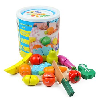 Children's wooden cut fruits and vegetables fish pretend toy Velcro fruits and vegetables early education cognitive puzzle game цена 2017