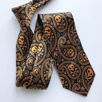 2020 Unique Men Skull Pattern Necktie Halloween Wedding Party Personality Ties Gravata
