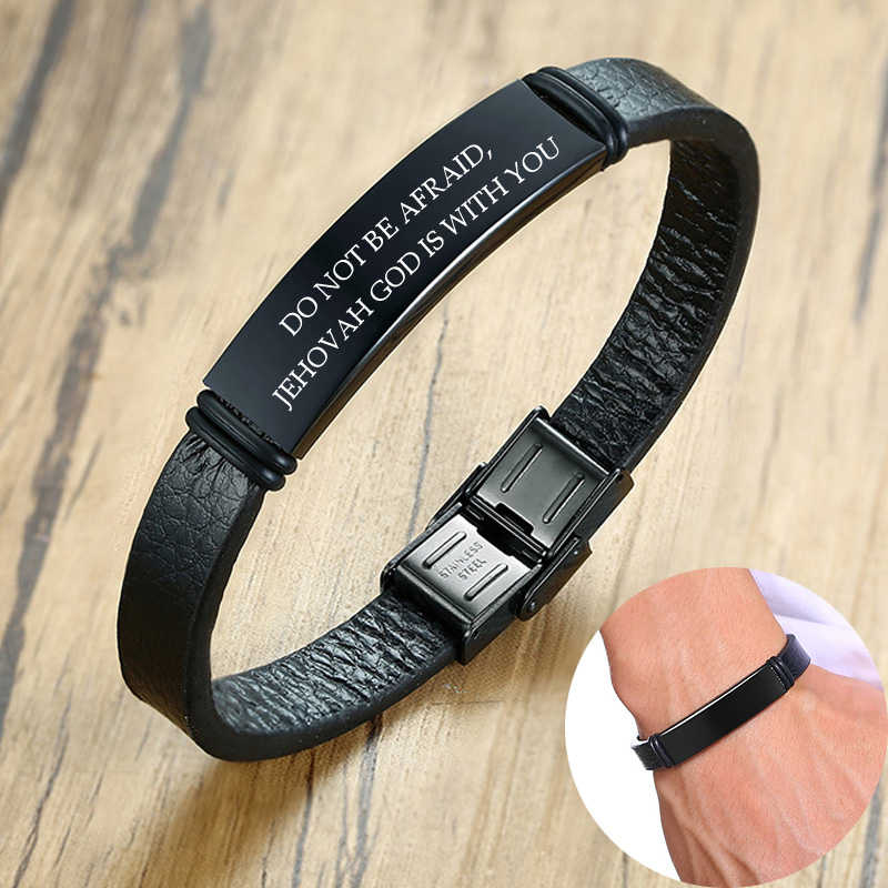 Engraved Black ID Tag Genuine Leather Bracelet Personalized Name Date Wristbands For Men Dad DIY Adjustable Length