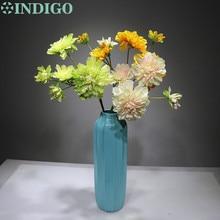 INDIGO- 5 Heads 3 Colors Dahlia Spray Big Daisy Wedding Flower Artificial Floral Event Hotel Party Free Shipping
