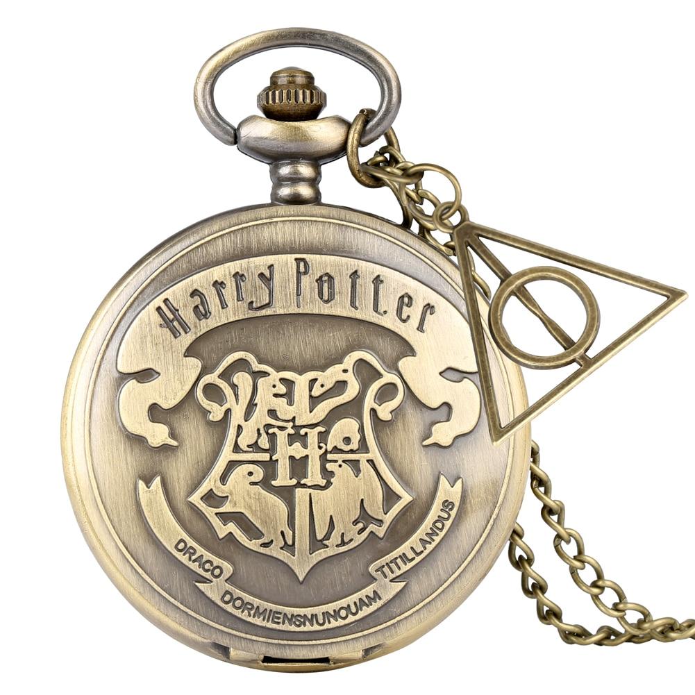 Retro Bronze Hogwarts School H Quartz Pocket Watch Analog Necklace Pendant Chain Women Mens Relogio Montres With Gifts Accessory